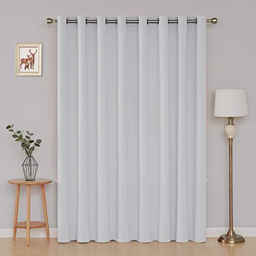 Panel Curtain Platinum (Deconovo Thermal Insulated Patio Door Curtains Greyish White Blackout Curtains 1 Panel Grommet Room Divider Darkening Curtain for Bedroom 100x84 Inch Platinum 1 Drape)