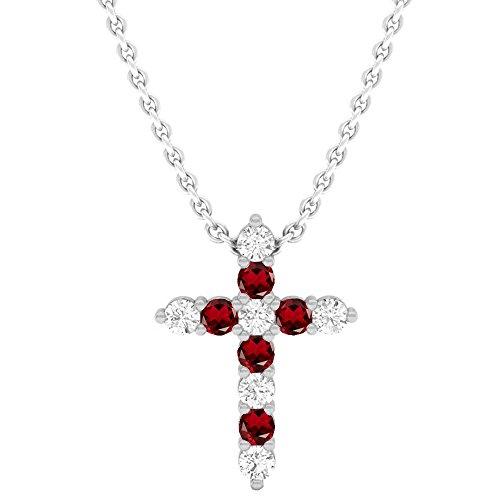 (Dazzlingrock Collection 14K Round Garnet & White Diamond Ladies Cross Pendant, White Gold)