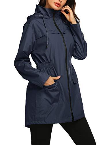 Avoogue Women's Waterproof Windbreaker-Navy Blue
