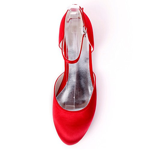Shoes Buckle Evening YC Heels Wedding Fashion Mid Handmade L Women Autumn Heel Satin 6cm Red 0 xnqpAIwR7