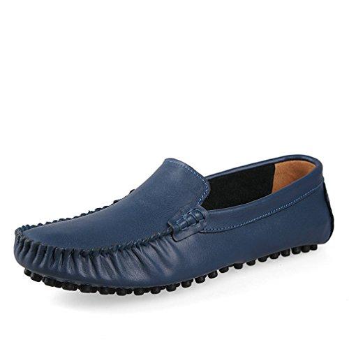 mocassini mocassini Gli modo Fluores casual cuoio appartamenti Blue degli 35~47 del uomini degli scarpe Drivng uomini Size scarpe genuino di Big Zapatos OBqBwfS6x