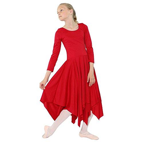 Flare Red Handheld (Danzcue Girls Celebration Of Spirit Long Sleeve Dance Dress, Scarlet, L/XL)