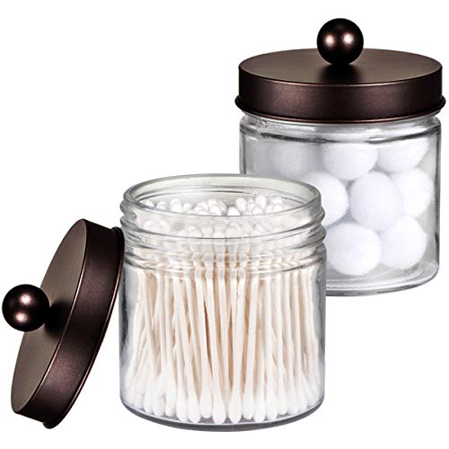 Canister Cotton Ball Holder - Bathroom Vanity Glass Storage Organizer Holder Canister Apothecary Jars for Cotton Swabs, Rounds, Balls, Qtips,Makeup Sponges, Flossers,Bath Salts - 2 Pack, Clear (Bronze)