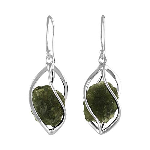 - Starborn Sterling Silver Natural Moldavite Caged Earrings