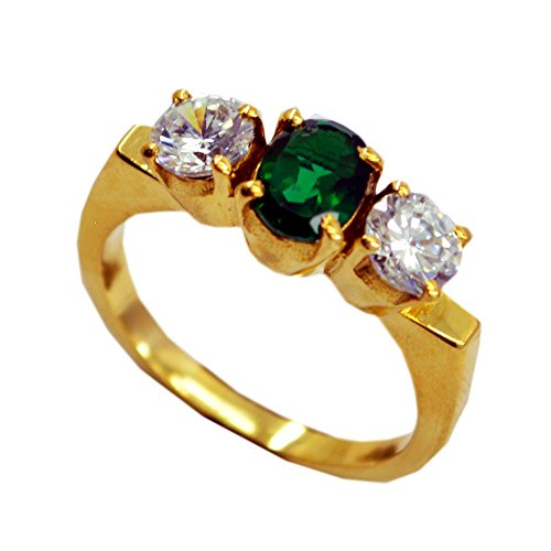 (Jewelryonclick 3 Stone Indian Emerald CZ Gold Plated Wedding Rings White CZ Stone Women Jewelry )