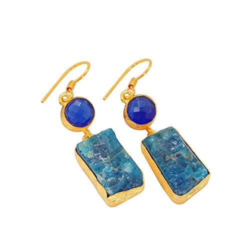 Apatite Chalcedony Earrings - Handmade Apatite And Blue Chalcedony Gemstone Bridesmaid Gifts Dangle Earrings