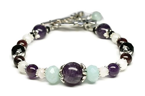 Stress Relief & Anti Anxiety Bracelet Featuring Natural Gemstones Rose Quartz, Amazonite, Amethyst, Black Onyx, Moonstone, Garnet,soothing, positive energy, holistic wellness jewelry/ Fast Shipping Featuring Natural