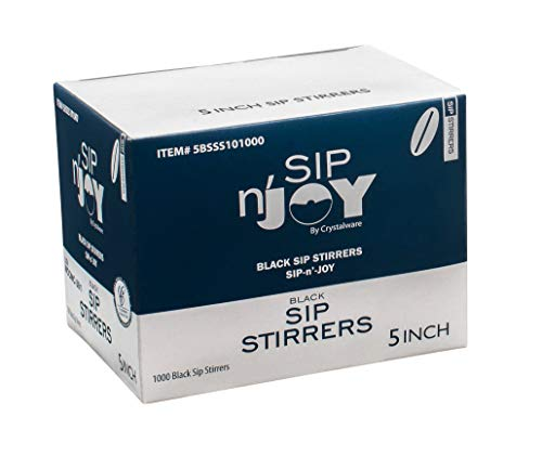 Crystalware, Plastic Stir Straw, Sip Stirrer, For Coffee and Cocktail, Black 5 Inches, 1000/Box, 2 pack (Total 2000 stirrers) (Renewed) ()
