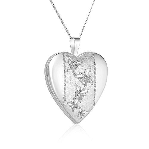 Regetta Jewelry Sterling Silver Butterflies Journey Heart Locket Pendant Necklace, 18'' By by Regetta Jewelry