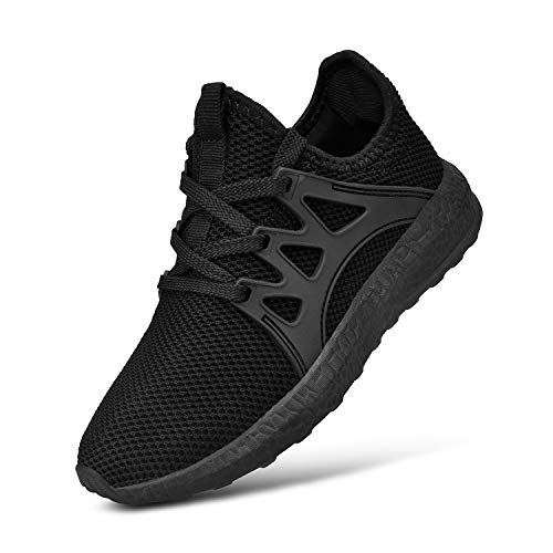 MARSVOVO Boy's Girl's Black Shoes Lightweight Breathable Sneakers Athletic Running Walking Tennis Shoes Size 4.5 ()