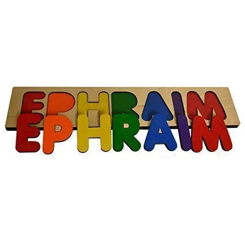 Jungle Friends Name and Number Wood Puzzle In Blues Great Puzzle For Boy Monkey Zebra Lion Giraffe Elephant Tiger
