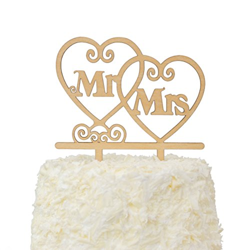 LOVENJOY with Gift Box Mr and Mrs Monogram Wedding Engagement Cake Topper Rustic Wood (5.5-inch) by LOVENJOY (Image #1)