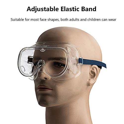 Safety Goggles Protective Eyewear, Over Glasses Safety Glasses, Clear Anti-Fog Lens, Adjustable Strap, High Impact Resistance, Perfect Eye Protection For School, Home & Workplace