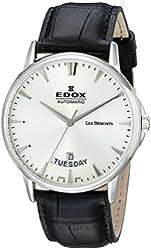 Edox Men's 83015 3 BIN Les Bemonts Analog Display Swiss Automatic Black Watch