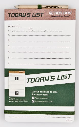 Action Day - Today´s List Pad - Size 5x8 - Layout Designed to Plan & Execute Tasks - Planning Pad - To Do List