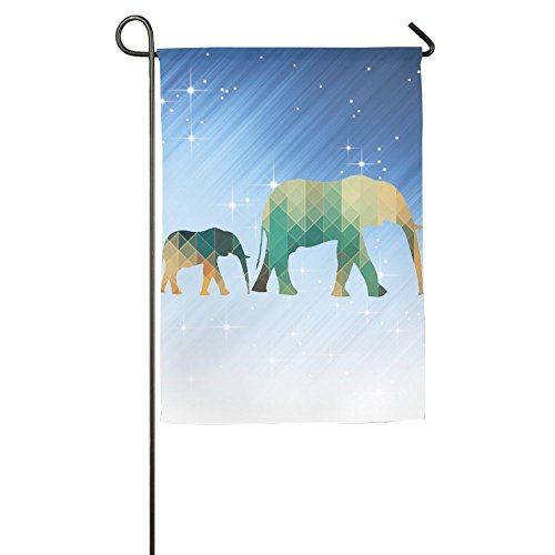 Buecoutes Geometric Elephants Home Family Party Flag 1827inch Hipster Welcomes The Banner Garden Flags ()