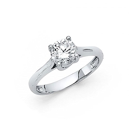 American Set Co. 14k White Gold CZ Trellis Solitaire Engagement Ring ()