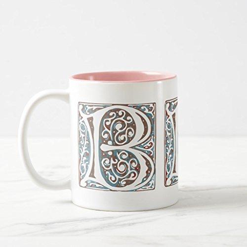 Zazzle Elegant Medieval Letter B Antique Monogram Coffee Mug, Pink Two-Tone Mug 11 oz - Medieval 2 Letter
