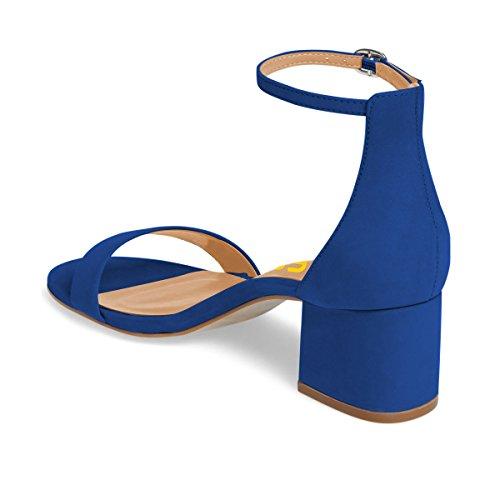 Fsj Sandali Donna Estate Cinturino Alla Caviglia Open Toe Tacco Basso Confortevole Scarpe Da Passeggio Taglia 4-15 Us Royal Blue