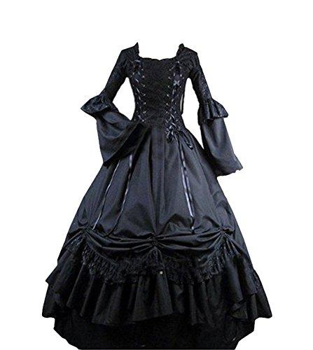 Angela Dress Womens Black Square Collar Gothic Victorian Classic Lolita Prom Dress (Woman-M) (Adult Black Gothic Dress Costume)