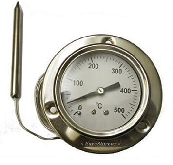 Ricel Sud - 1 termómetro 500 ^ grados de sonda flexible - largo 160 cm - para horno de leña, barbacoa: Amazon.es: Hogar