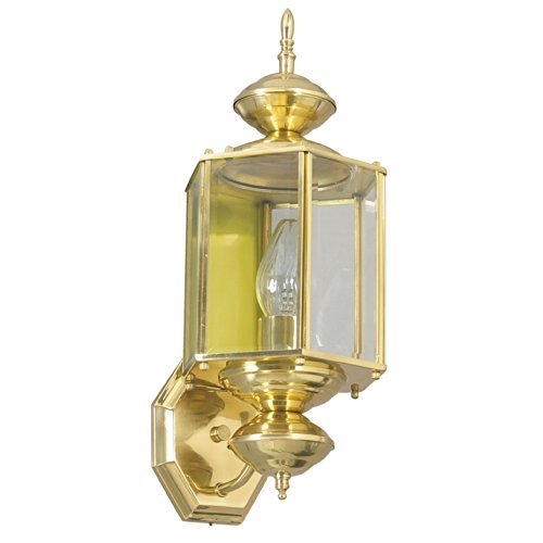 Sunset Lighting F6860-10 Outdoor Wall Sconce with Clear Beveled Glass, Polished Brass Finish 10 Polished Brass Outdoor Sconce
