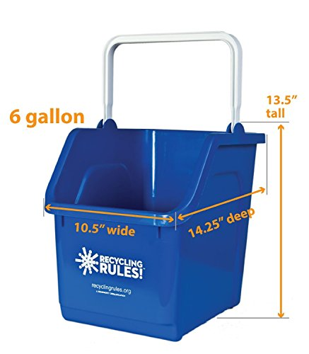 Blue Stackable Recycling Bin Container With Handle 6