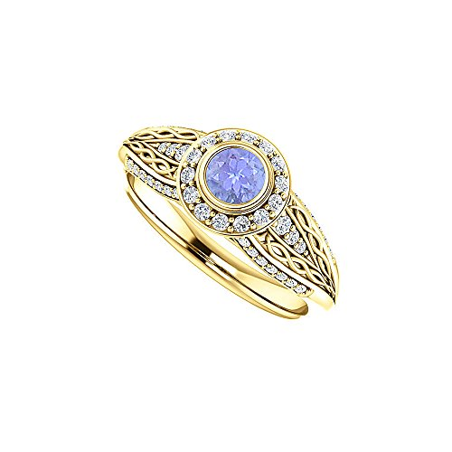 Tanzanite CZ Leaf Pattern Ring 18K Yellow Gold Vermeil