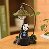 Kimkoala Spirited Away Figures, Cute Studio Ghibli Miyazaki No Face Man with Night Lamp Light Action Figure Toys for Children Gift for Home Garden Decoration (with Cute Blue Figure)