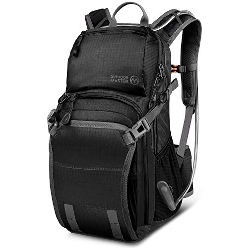 (OutdoorMaster 25L HYDROBACK Hydration Backpack - 2L BPA Free Bladder | Large Volume, Ultra Ventilated Lightweight Day Pack for Hiking, Cycling, Climbing, Trekking, MTB - Black)