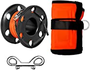 5FT Diving Surface Marker Buoy (SMB), Signal Tube Safety Sausage with 100FT Aluminum Finger Spool Reel and Dou