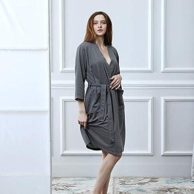 Zhahender Winter Women Girls Bathrobes Beauty Salon Hotel Pajamas (Color : Grey, Size : M) Leg Warmers