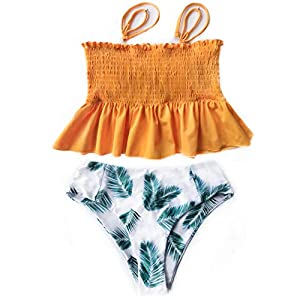 Bkolouuoe Swimsuits for Women Two Pieces Tankini Swimsuits Plus Size Printed Swimjupmsuit Swimwear Bathing Suits