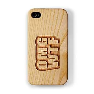 Carved on Wood Effect_OMG WTF Funda Completa de Alta Calidad con Impresión 3D, Snap-On, Diseño Negro Formato Duro parar Apple® iPhone 4 / 4s de Chargrilled
