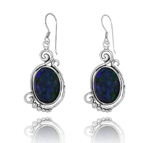 Contemporary Sterling Silver 925 French Wire Earrings with Oval Azurite ()