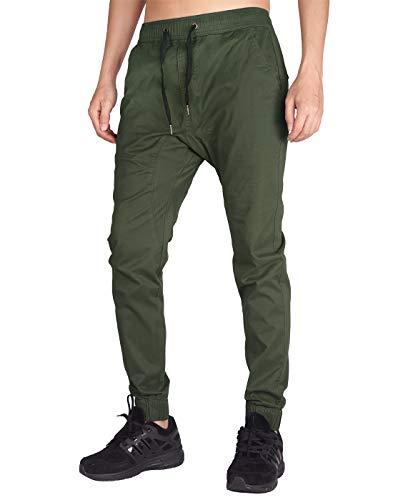 ITALY MORN Men's Chino Jogger Drop Crotch Casual Pants M Army Green