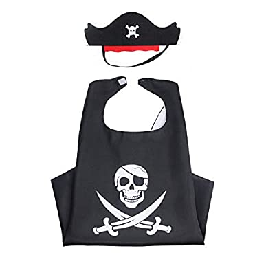 Astrau Gormet Cartoon Pirate Dress Up Satin Cape Kids Costume Set for Pirate Theme Birthday Party Halloween Party Supplies: Toys & Games
