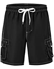 YSENTO Men's Swim Shorts Cargo Shorts 4 Pockets Dry Fit Beach Board Shorts with Mesh Liner