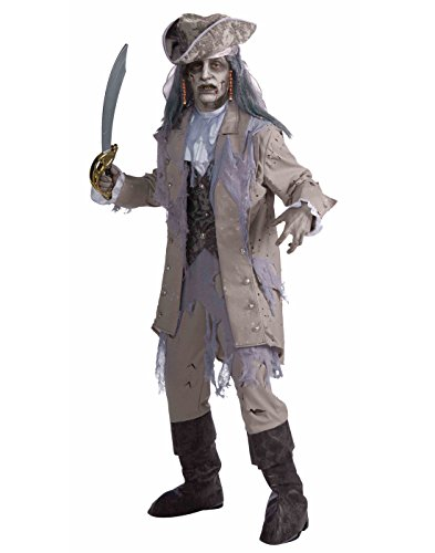Men's Zombie Pirate Ghost Costume, Gray/Beige, One Size]()