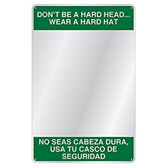 "BSM306 Bilingual Safety Message Mirror,Dont Be A Hard Head, 15"" ..."