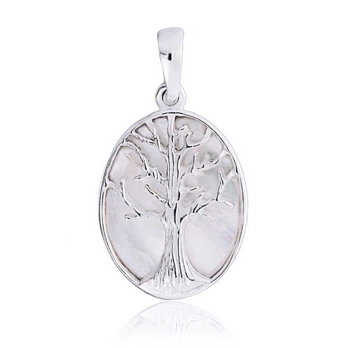 Bling Jewelry Sterling Silver Reversible Mother of Pearl Tree of Life Pendant