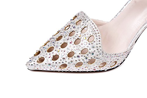 AmoonyFashion Womens Spikes Stilettos Soft Material Solid Buckle Closed Pointed Toe Pumps Shoes Silver NJSVUW2D