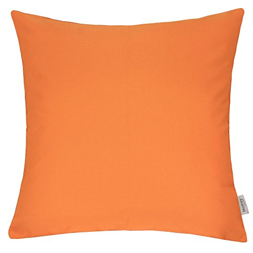 Homey Cozy Outdoor Throw Pillow Cover, Classic Solid Orange Large Pillow Cushion Water/UV Fade/Stain-Resistance For Patio Lawn Couch Sofa Lounge 20x20, Cover Only by Homey Cozy