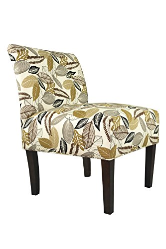 MJL Furniture Designs Foliage Driftwood Samantha Collection Button Tufted Upholstered Fabric Decorative Accent Side Chair (Armless Chair Designer Fabric)