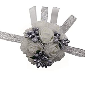 Arlai 1 pcs White Flower&Silver Bead Brides Wrist Corsage Bridesmaid Wedding Artificial Flowers 16