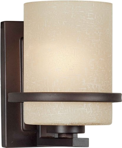Forte Lighting 2404-01-32 1-Light Transitional Wall Sconce, Antique Bronze Finish with Umber Linen Glass Shade Bronze Umber