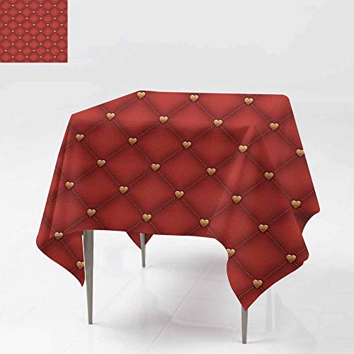 Fbdace Tablecloth for Kids/Childrens,Seamless Dark red Quilted Background with Golden Heart Shaped pins Table Cover for Kitchen Dinning Tabletop Decoratio 36x36 Inch
