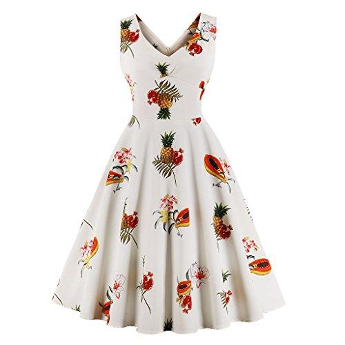 Wellwits Women's Empire Waist Pineapple Tropical Fruit Vintage Swing Dress S ()