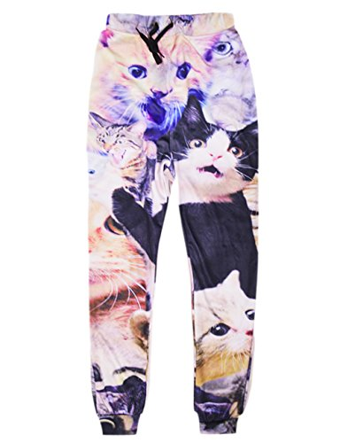 RAISEVERN Unisex 3d Funny Cats Print Casual Sports Jogging Pants Trousers, Funny Cats, XL