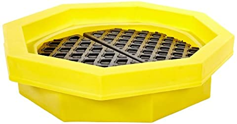 UltraTech 1046 Polyethylene Ultra-Drum Tray with Grate, 21.1 Gallon Capacity, 5 Year Warranty, - 55 Gallon Drum Spill Containment